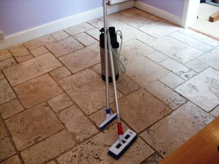 Limestone Floor - Before Restoration