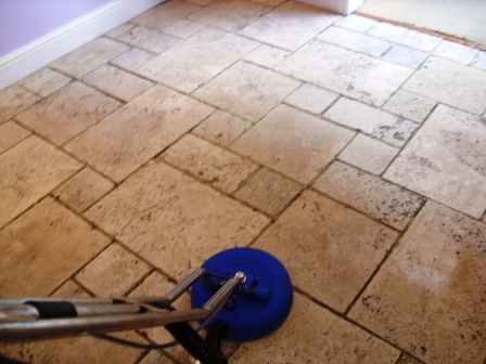 Limestone Floor - During Restoration