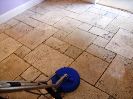 Limestone Floor - During Restoration