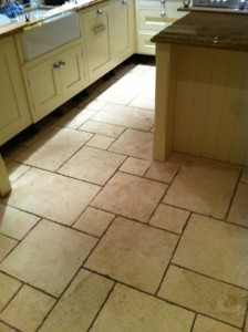 Limestone floor before restoration by Tile Doctor Warwickshire