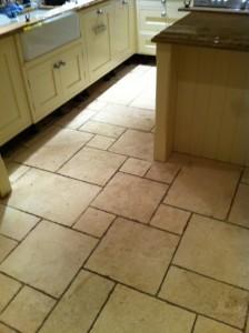 Limestone floor before restoration by Tile Doctor Warwickshire
