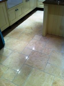 Limestone Kitchen Floor After Restoration