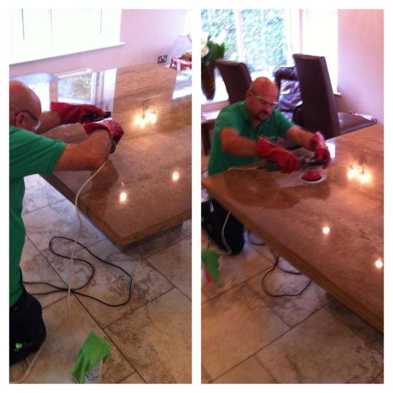 Polishing a Limestone table in Warwickshire