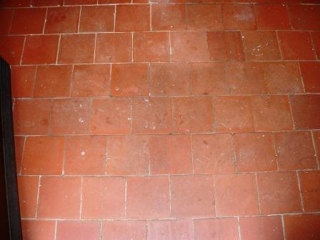 Quarry Tile Floor Rugby - Before Restoration