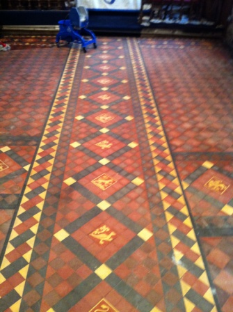 Victorian Church Floor Before Cleaning and Sealing