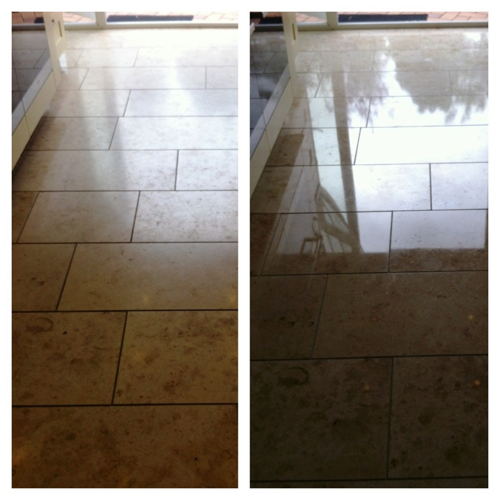 Before and After photos of a Polished Limestone Floor Tiles