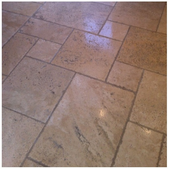 Travertine Floor Before Cleaning by Tile Doctor Warwickshire