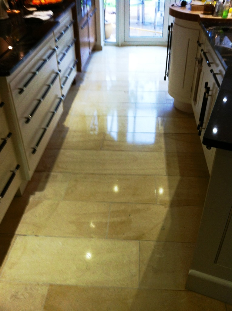 Limestone Floor After Polish and Seal