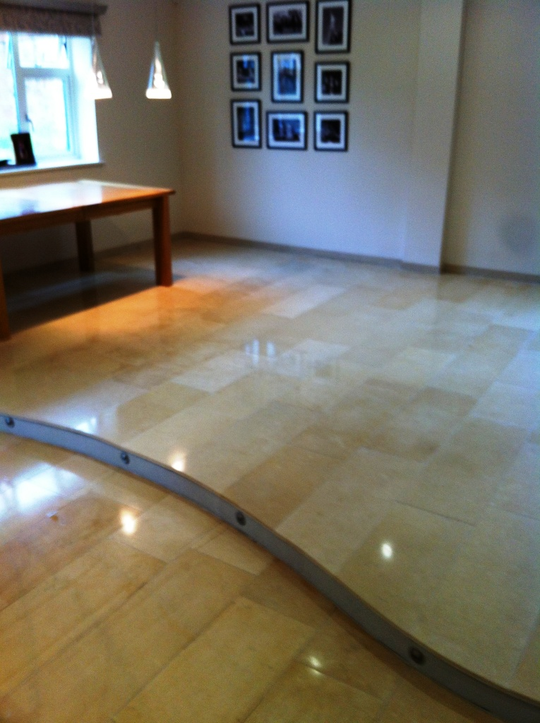 Limestone Floor After Polishing