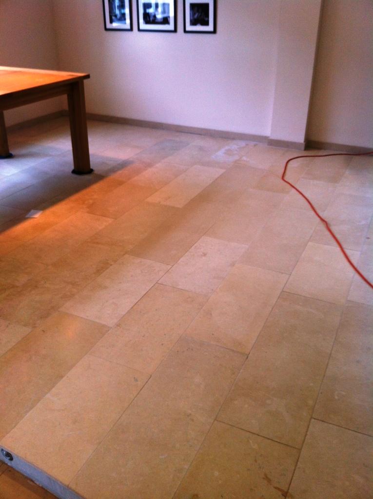 Limestone Floor Before Burnishing