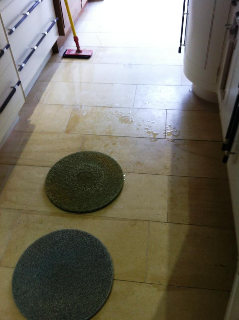 Limestone Floor Before Polishing