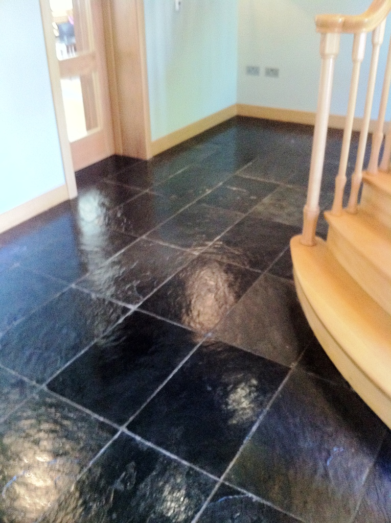 Slate Hallway After Cleaning and Sealing