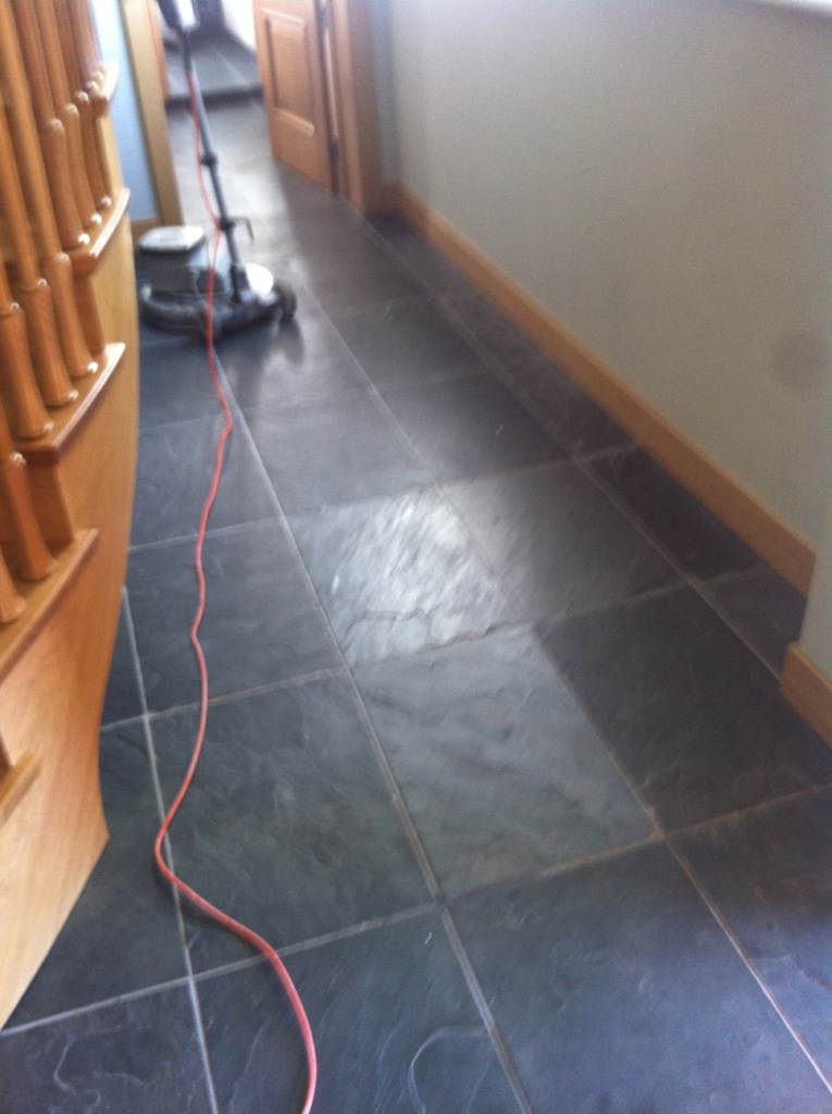 Slate Hallway Before Cleaning