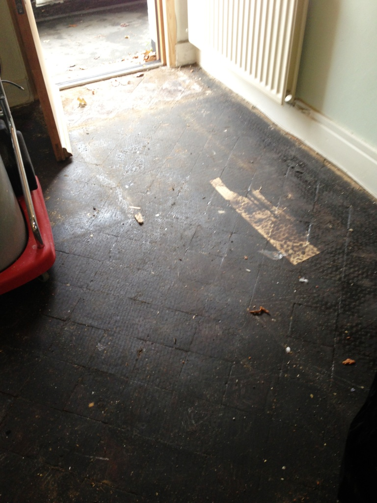 Quarry Tile Before showing tar on floor