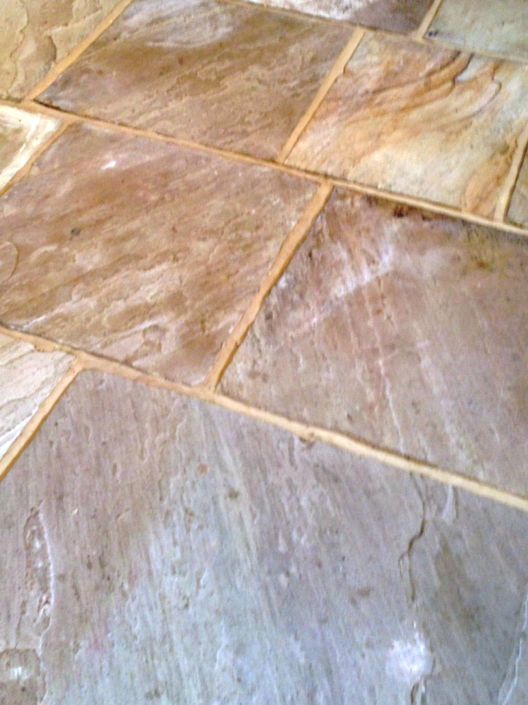 Sandstone Flagstones Before Sealing Close-Up