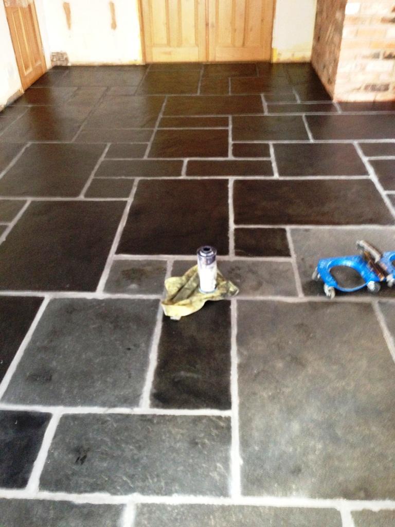 Slate Floor Restoration Adding Colour