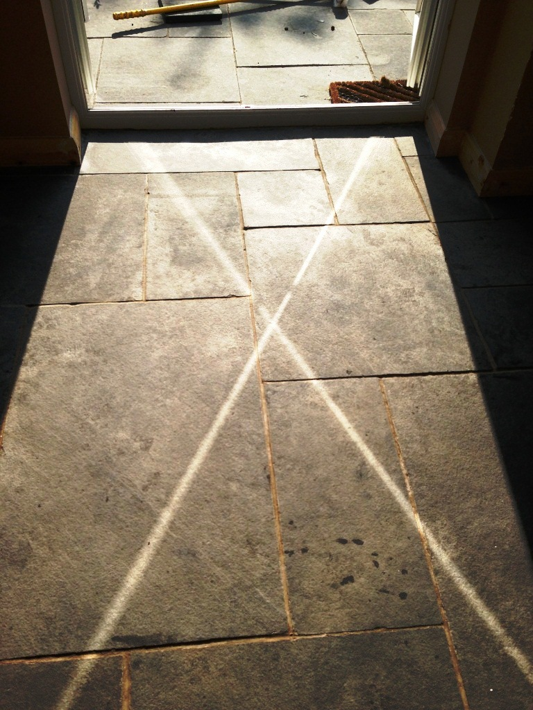 Black Limestone Tiles Before