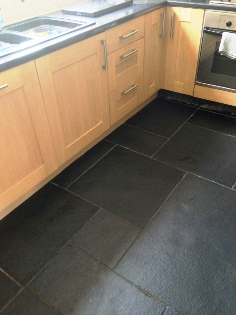 Limestone Kitchen Floor After Cleaning and Sealing