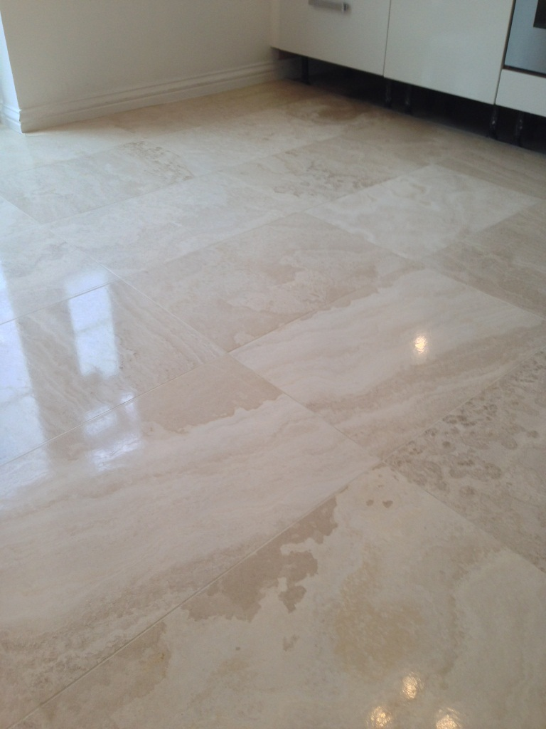Limstone Tiled Floor After Cleaning and Polishing