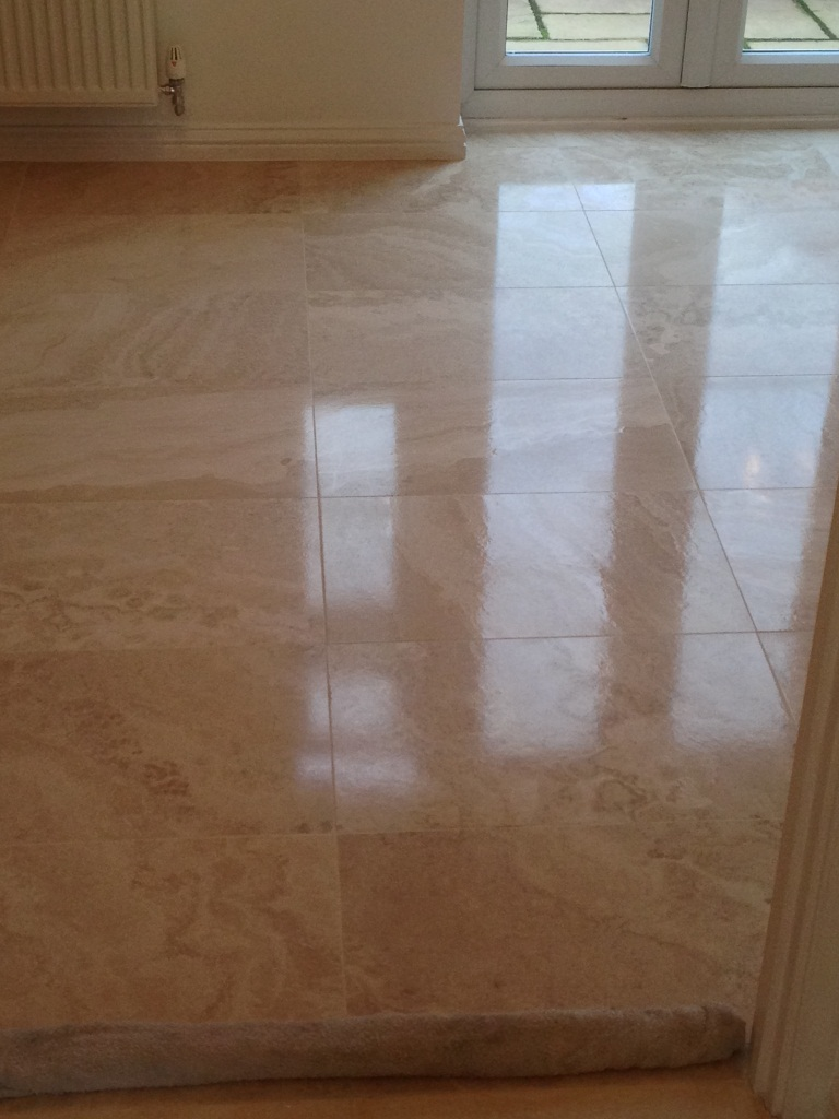 Limstone Tiled Floor After Cleaning and Polishing3