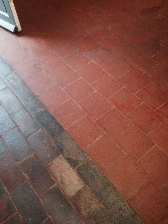 Cleaning Painted Quarry Tiles in Long Itchington