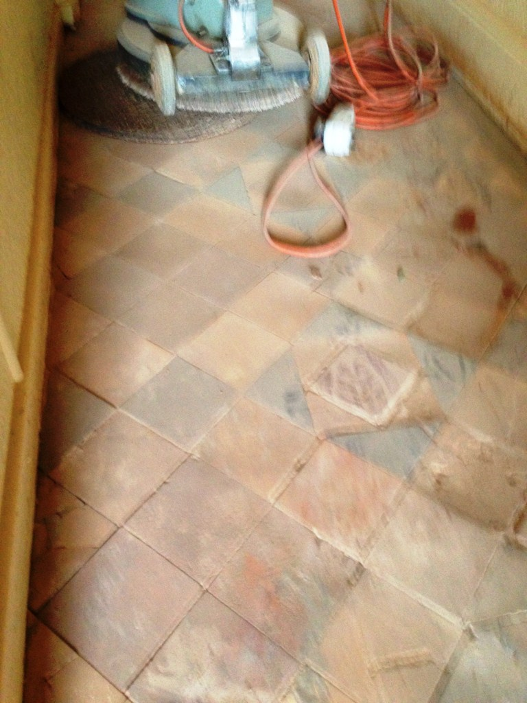 Victorian Floor Tiles Before Restoration in Stratford upon Avon