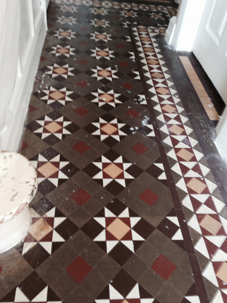Victorian Tiled Hallway Coventry Before Cleaning