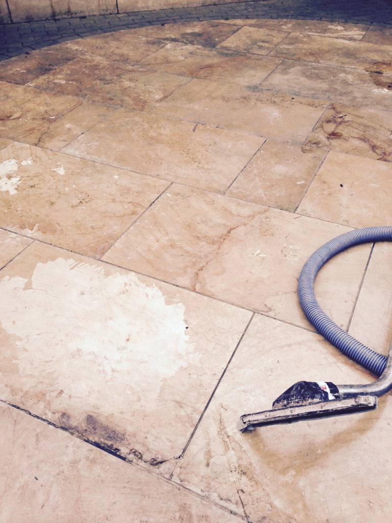 Limestone Patio Before Cleaning Nuneaton