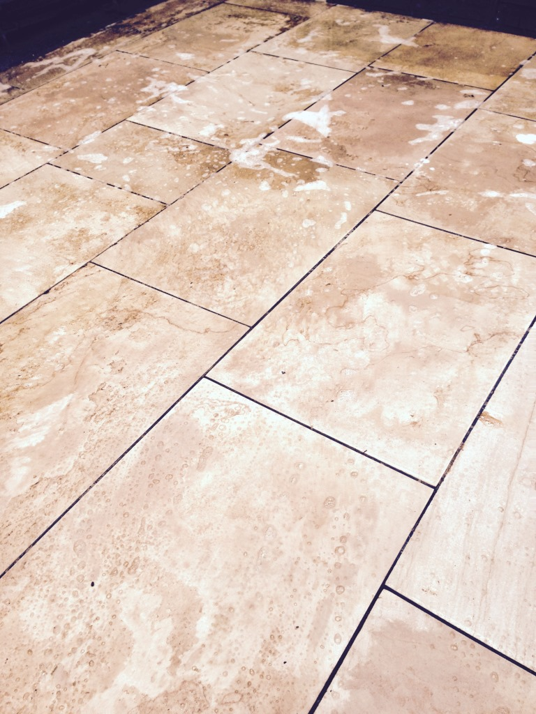 Limestone Patio During Cleaning Nuneaton