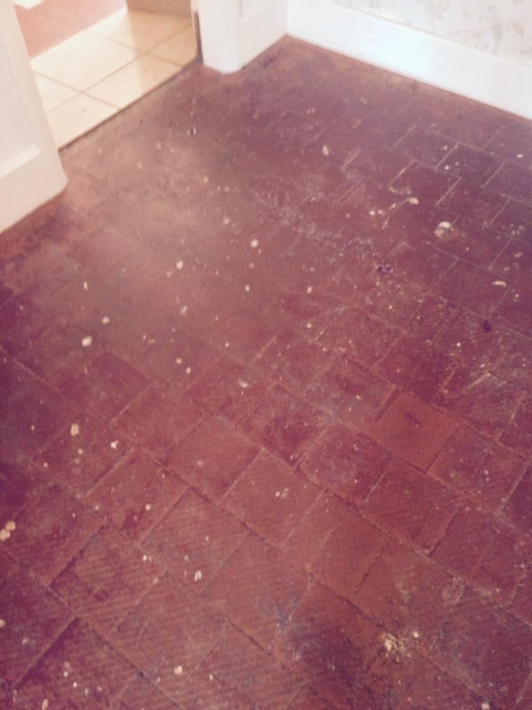 Quarry Tiled Floor Before Restoration in Stratford-upon-Avon