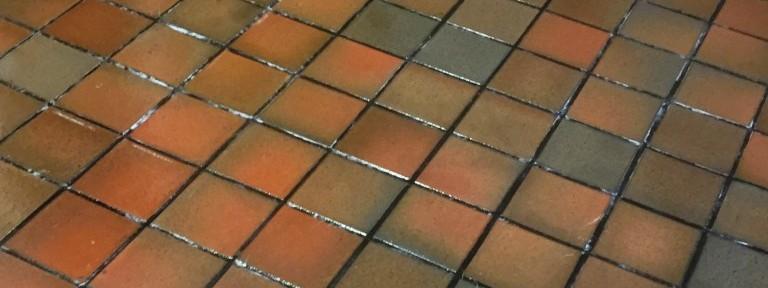 Linoleum Covered Quarry Tiled Floor Restored in Marton, Warwickshire