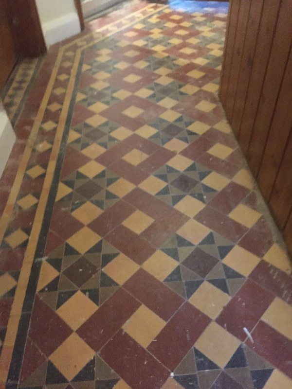 Victorian Tiled Floor Before Restoration Earlsdon Coventry
