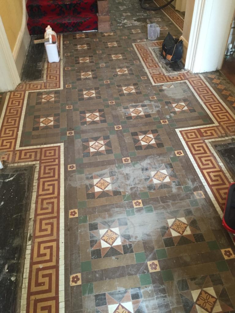 Victorian Tiled Floor During Rebuild Leamington Spa