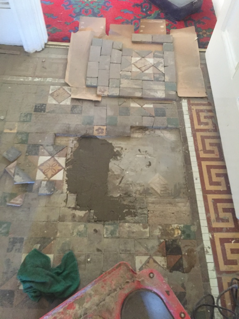 Victorian Tiled Floor During Rebuild Leamington Spa