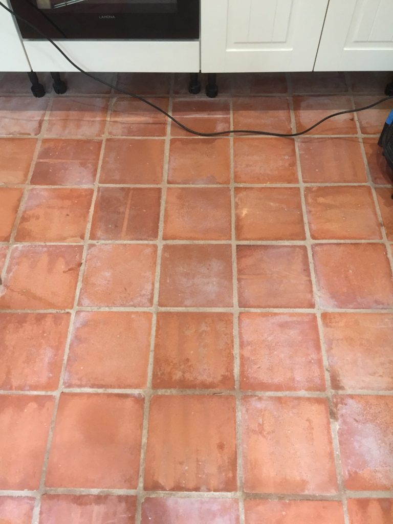 Unsealed Terracotta Kitchen Tiles Treated For Grout Haze In