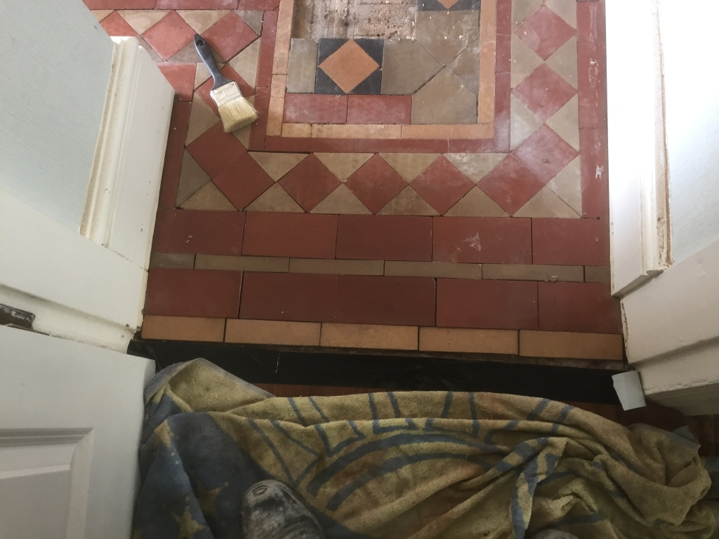 victorian tiled floor before refurbishment in coundon