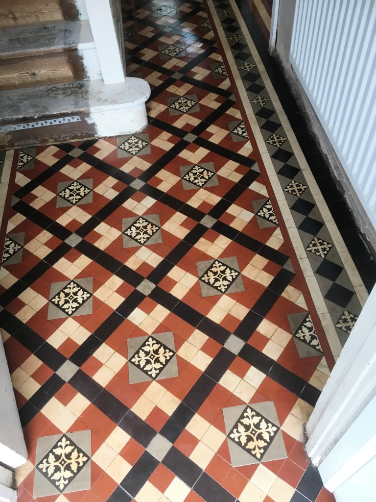 Edwardian Tiled Floor Covered In Tar Chaplefields Coventry After Restoration