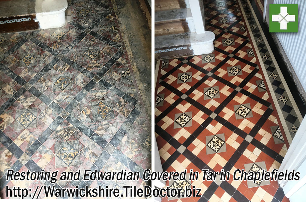 Edwardian Tiled Hallway Before and After Restoration in Chaplefields