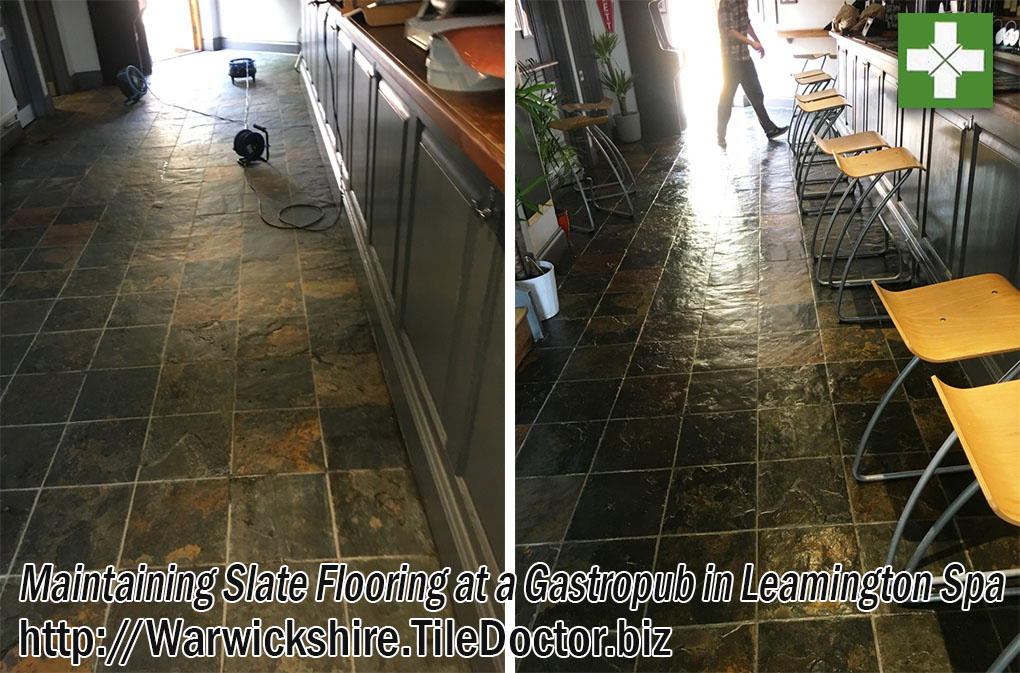 Slate Pub Floor Before and After Maintenance in Leamington Spa