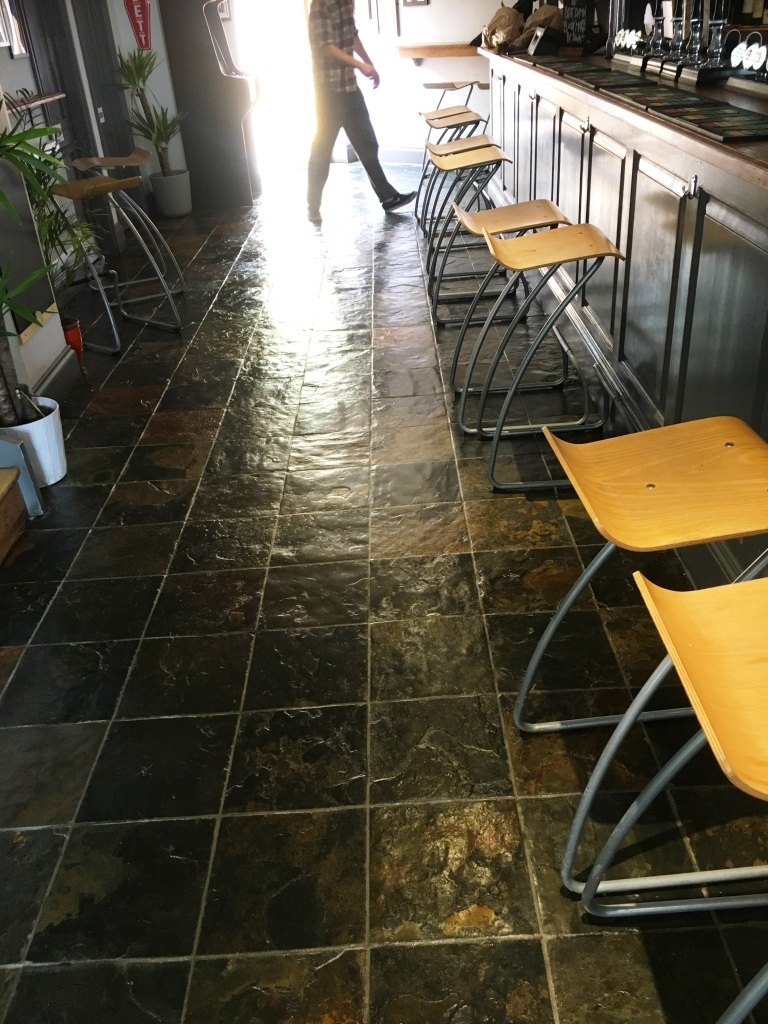 Slate Tiled Floor After Restoration in Leamington Spa Pub Restaurant