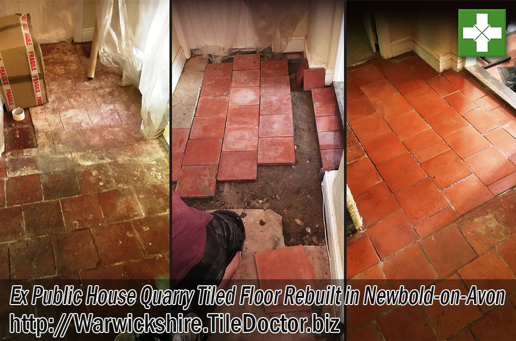 Quarry Tiled Floor Before and After Full Restoration in Newbold-on-Avon