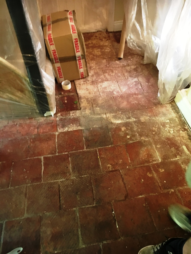 Quarry Tiled Floor Thatched Cottage in Rugby Before