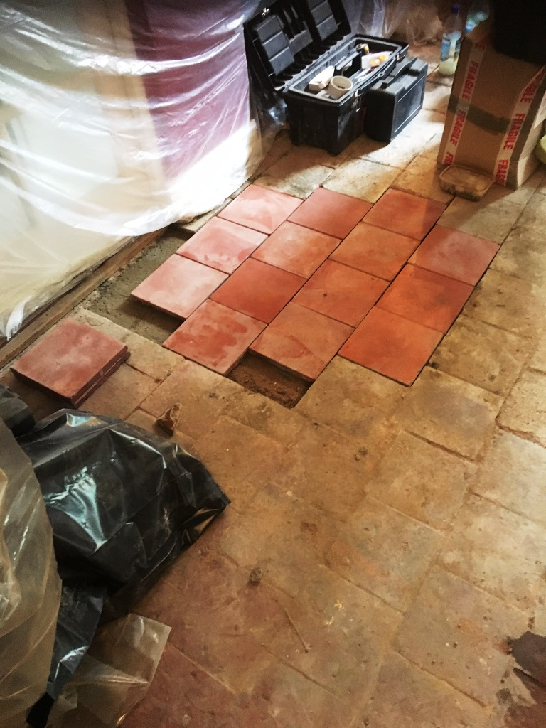 Quarry Tiled Floor Thatched Cottage in Rugby During Rebuild