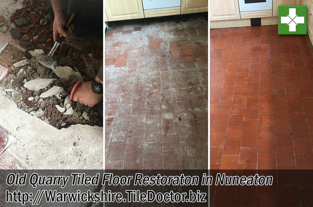 Old Quarry Tiled Kitchen Floor Before and After Restoration Nuneaton