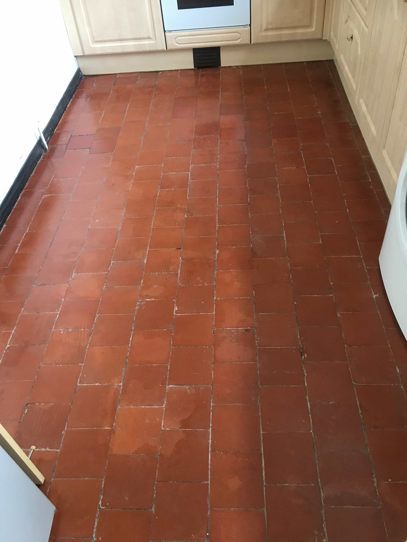 Quarry Tiled Floor During Restoration Nuneaton