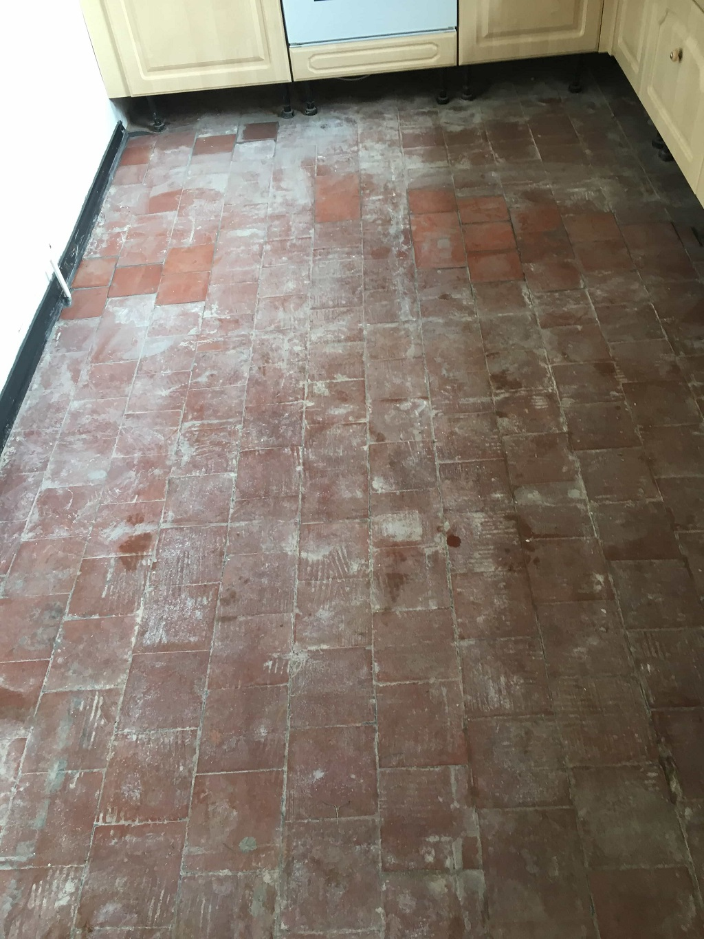Quarry Tiled Floor During Restoration Nuneaton