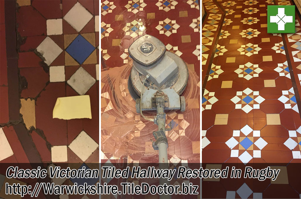 Classic Victorian Tiled Hallway Before and After Restoration Rugby