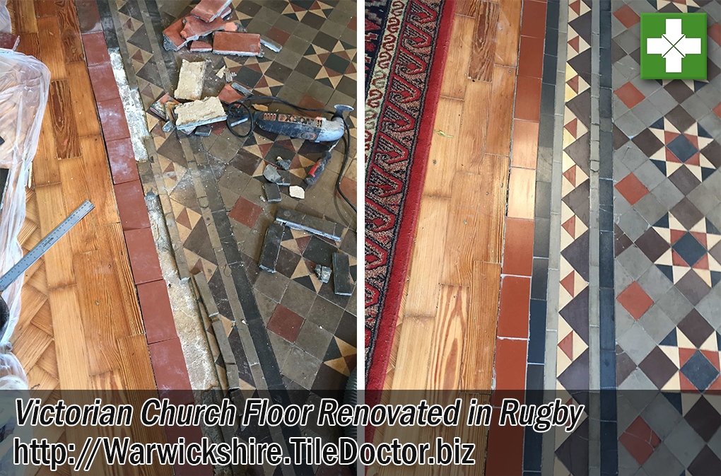 Victorian Tiled Church Floor Renovation Rugby