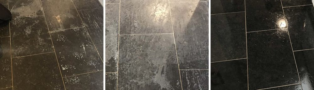 Black Limestone Floor Ruined by Descaling Solution in Stratford upon Avon
