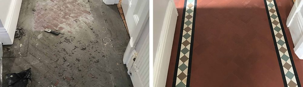 Lino Covered Geometric Victorian Floor Restored in Stoke, Coventry